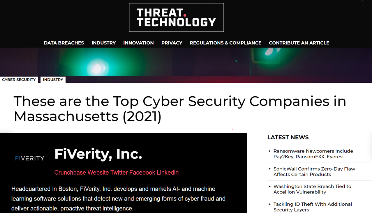 Threat Technology lists FiVerity Top Cyber Security Companies